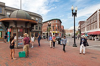 Harvard Square area near the center of Cambridge, Massachusetts, United States