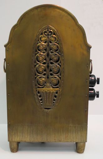 Space heater - A brass space heater, circa 1912