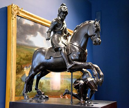 Henri IV on Horseback Trampling his Enemy. Bronze, circa 1615-1620. From France, probably Paris. Victoria and Albert Museum, London Henri IV on Horseback Trampling his Enemy. Bronze, circa 1615-1620 CE. From France, probably Paris. The Victoria and Albert Museum, London.jpg