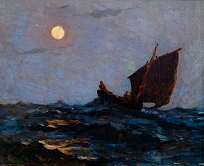 Barque de pêche dans la brume