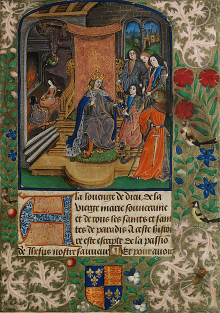 Presentation miniature from the Vaux Passional Henry VII in Mourning.jpg