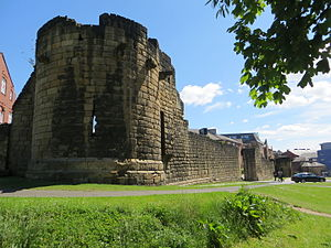 Newcastle town wall - Herber Tower looking towards Durham Tower