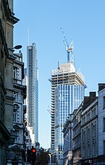 Heron Tower, 100 Bishopsgate (under construction) and 99 Bishopsgate, City of London, 2017-10-27.jpg