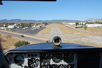 Hesperia Airport - The runway as seen on short final for runway 21.