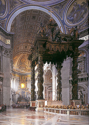 Saint Peter's tomb - St. Peter's baldachin, by Bernini, in the modern St. Peter's Basilica. Saint Peter's tomb lies directly below this structure.