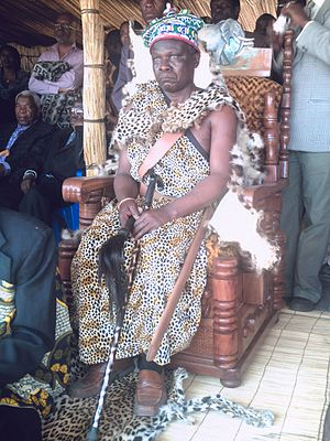 Mbunda people - Mbunda 23rd Monarch His Majesty, King Mwene Mbandu III Mbandu Lifuti at His coronation and restoration of The Mbunda Kingdom in 2008.