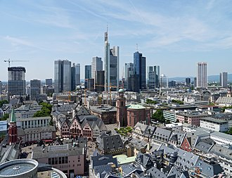 Architecture of Germany - The view from Frankfurt Cathedral, showing the diversity of German architecture. Landmarks include the reconstructed Gothic Römer city hall and old town, the Neoclassical Paulskirche and the Modernist and Postmodernist skyscrapers of the Frankfurt skyline.