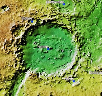 Holden (Martian crater) - Topographic map of Holden Crater