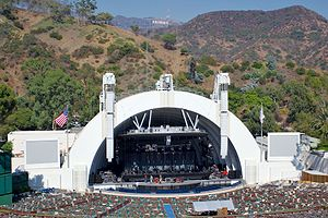 The Hollywood Bowl amphitheatre, stage and Hol...