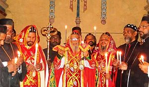 Divine Liturgy of Saint James - A West Syrian Rite liturgy of the Jacobite Syrian Christian Church holding paterissa (crozier)