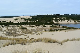 Lane County, Oregon - Jessie M. Honeyman Memorial State Park and part of Cleawox Lake, Oregon Dunes National Recreation Area, south of Florence
