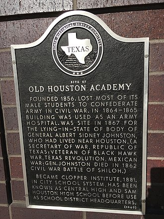Kinder High School for the Performing and Visual Arts - Plaque located at 790 Austin Street detailing history of the new campus site.