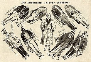 Cartoon from 1867 making fun of Bismarck's different roles, from general to minister of foreign affairs, federal chancellor, hunter, diplomat and president of the parliament of the Zollverein, the Prussian-dominated German customs union (Source: Wikimedia)