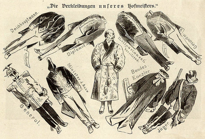 Cartoon from 1867 making fun of Bismarck's different roles, from general to minister of foreign affairs, federal chancellor, hunter, diplomat and president of the parliament of the Zollverein, the Prussian-dominated German customs union. Httpdigi.ub.uni-heidelberg.dediglitklabismarck18900050a.jpg