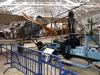 Aircraft engine starting - The Shuttleworth Collection's working Hucks Starter positioned with their Bristol F.2 Fighter