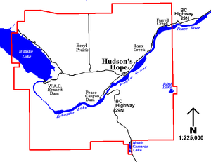 Hudson's Hope - The District of Hudson's Hope is centered around a townsite on the north side of the Peace River along Highway 29. The rural communities of Lynx Creek and Farrell Creek, and the farming community of Beryl Prairie, are located north of the main townsite.