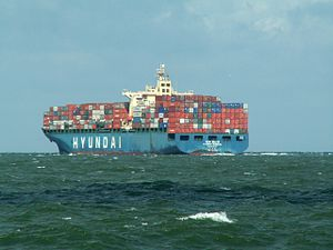 Hyundia General astern, leaving Port of Rotterdam, Holland 06-Aug-2005.jpg