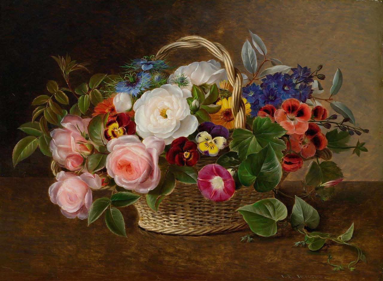 I.L Jensen - Blomsterkurv med roser og snerler - 1843.png