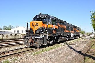 Indiana Harbor Belt Railroad - IHB number 3801 and 3802, both EMD GP38-2s