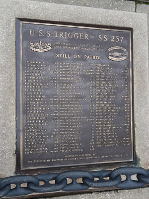 """USS Trigger (SS-237) - """"USS Trigger Still on Patrol"""" plaque at the Independence Seaport Museum"""