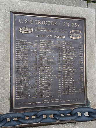 "USS Trigger (SS-237) - ""USS Trigger Still on Patrol"" plaque at the Independence Seaport Museum"