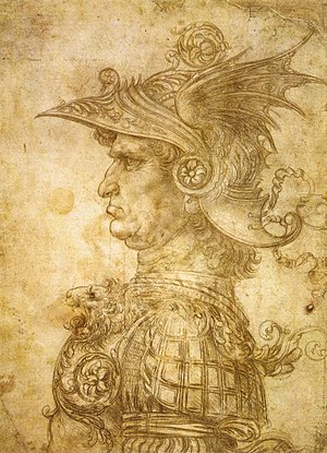 "Mercenary - Leonardo da Vinci's Profilo di capitano antico, also known as il Condottiero, 1480. Condottiero meant ""leader of mercenaries"" in Italy during the Late Middle Ages and the Renaissance."