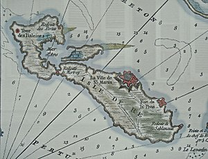 Sablanceau and Redoute of Rivedoux - Image: Ile de Re in the Chart of the Road of Basque 1757