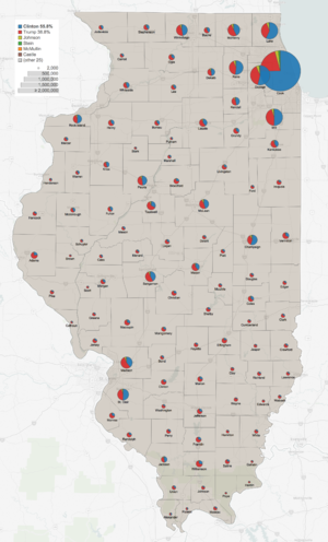 United States presidential election in Illinois, 2016 - Image: Illinois 2016 presidential results by county