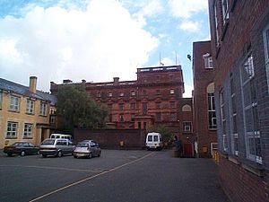 St Bede's College, Manchester - Part of the main playground. In the background is the Vaughan building, with the Beck building to the right.