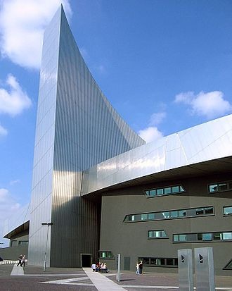 Imperial War Museum North - The entrance to Imperial War Museum North, at the base of the air shard tower.