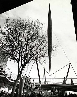 Social history of the United Kingdom (1945–present) - The 300-foot Skylon hung in midair at the Festival of Britain, 1951.