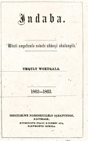 Lovedale (South Africa) - Titlepage of the first volume of the magazine Indaba published at Lovedale, 1862-1863