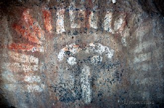 Yakima Indian Painted Rocks - Pictograph closeup