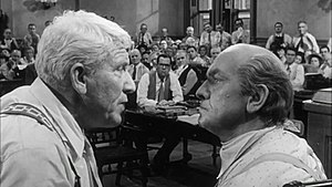 Inherit the Wind (play) - Henry Drummond (Spencer Tracy, left) and Matthew Harrison Brady (Fredric March, right) in Inherit the Wind