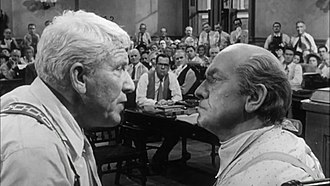 Fredric March - Henry Drummond (Tracy, left) and Matthew Harrison Brady (March), right) in Inherit the Wind.  Previously, March had taken the role in The Desperate Hours originally offered to Tracy.  Both men had also played Dr. Jekyll/Mr. Hyde.