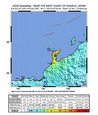 2007 Noto earthquake - USGS ShakeMap for the event