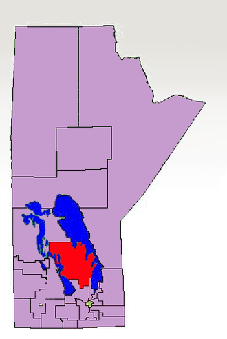 Interlake - The 1998-2011 boundaries for Interlake highlighted in red