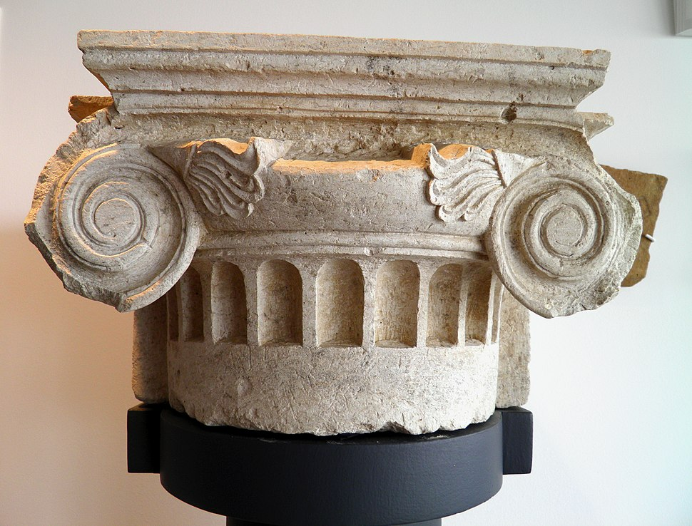 Ionic pilaster capital from the palace, Archaeological Museum, Pella (6930003102)
