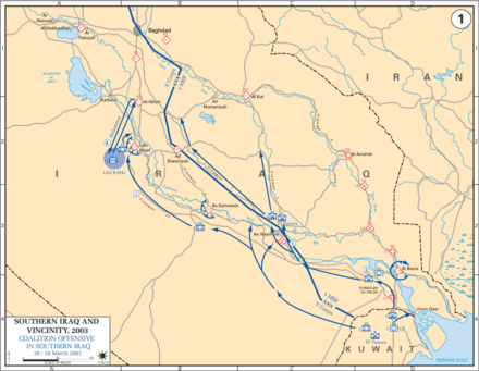 US invasion: 20-28 March 2003 Iraq War 2003 Map1.PNG