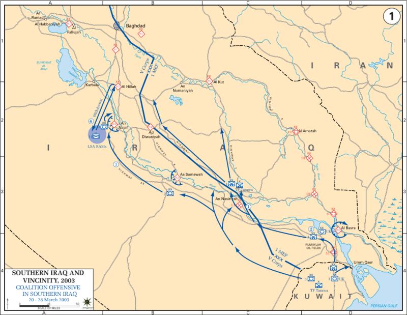 شهاده تاريخيه : أسطورة معركة مطار صدام الدولي في ابريل 2003  800px-Iraq_War_2003_Map1