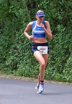 Ina Reinders beim Ironman Germany in Frankfurt am Main, 2008