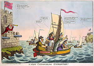 Walmer Castle - A satirical cartoon of 1805, depicting William Pitt the Younger directing operations against the French from Walmer Castle (left)