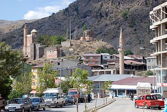 İspir - Ispir castle and the historic citadel mosque.