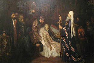 Ivan IV becoming monk before death by P. Geller.jpg