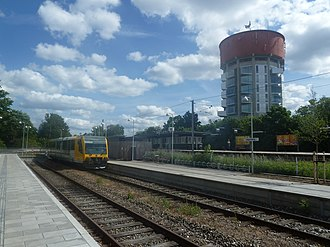 Jægersborg - Jægersborg Water Tower, now youth housing, as seen from Jægersborg Station