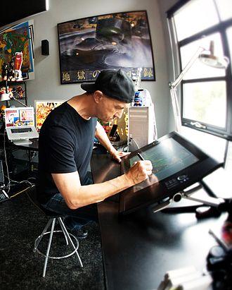 Jim Evans (artist) - Jim Evans working at his tablet