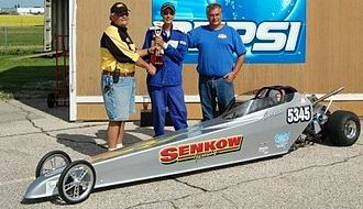 Junior Dragster - Winning the same trophy as the Pro's.