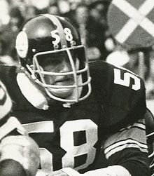 fb19cce9a Candid black and white photograph of Lambert during a game wearing a  58 Pittsburgh  Steelers