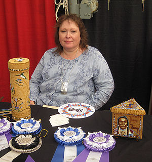 Piegan Blackfeet - Jackie Larson Bread (enrolled Blackfeet Tribe of Montana) with her award-winning beadwork