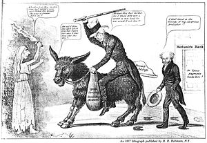 Panic of 1837 - The modern balaam and his ass, an 1837 caricature placing the blame for the Panic of 1837 and the perilous state of the banking system on outgoing President Andrew Jackson, shown riding a donkey, while President Martin Van Buren comments approvingly.